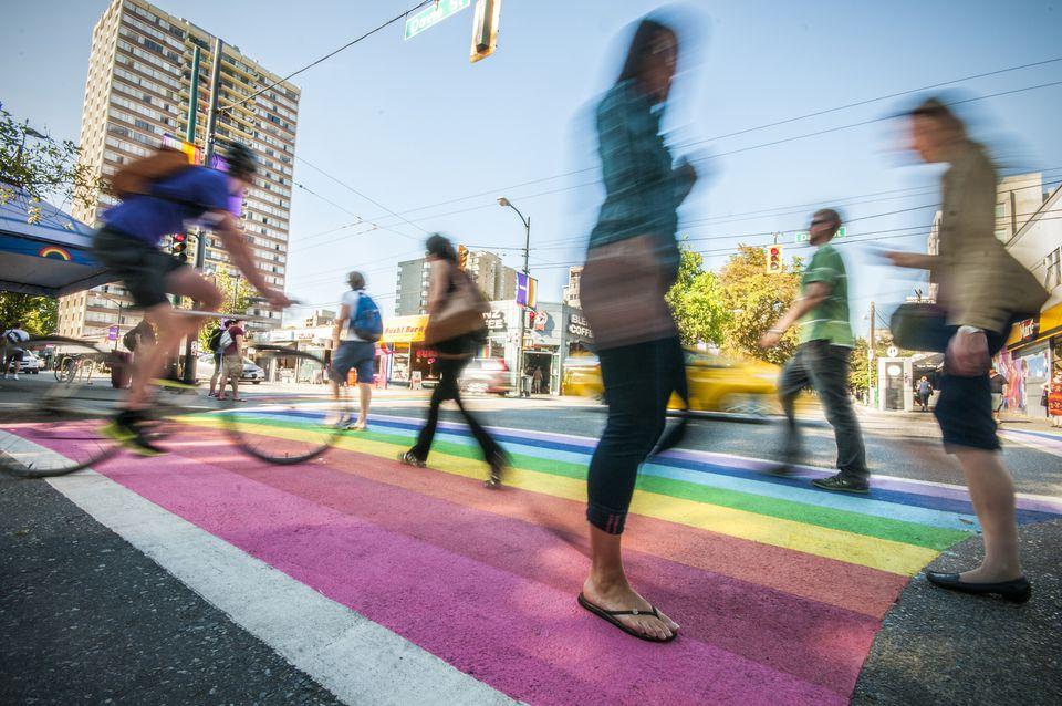 Rainbow Crosswalk on Davie Street, Vancouver, BC