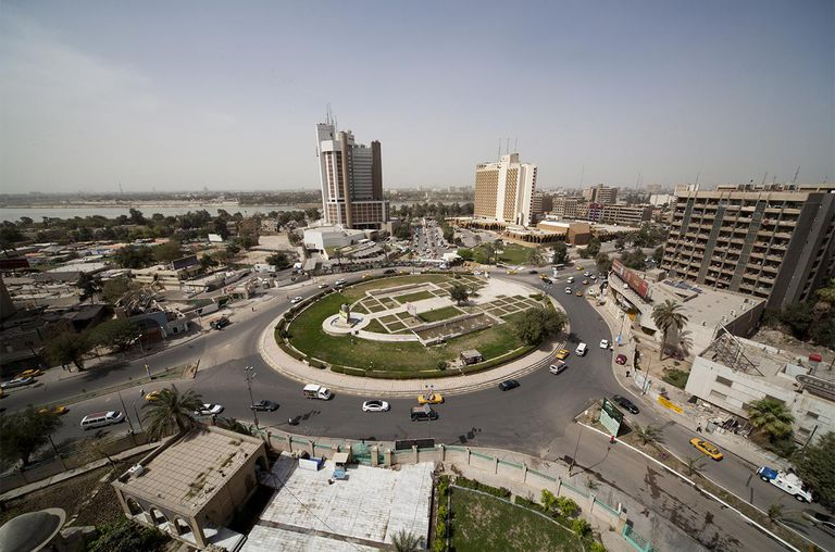 The Ishtar (locally known as Sheraton) and Palestine Hotels stand next to Firdos Square where the statue of Saddam Hussein was pulled down by US forces, March 18, 2013 in Baghdad, Iraq.