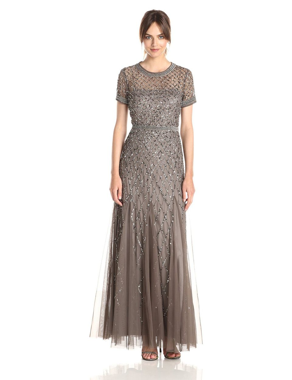 Adrianna papell short sleeve beaded mesh gown outdoor for Dresses for mother of the bride outdoor wedding