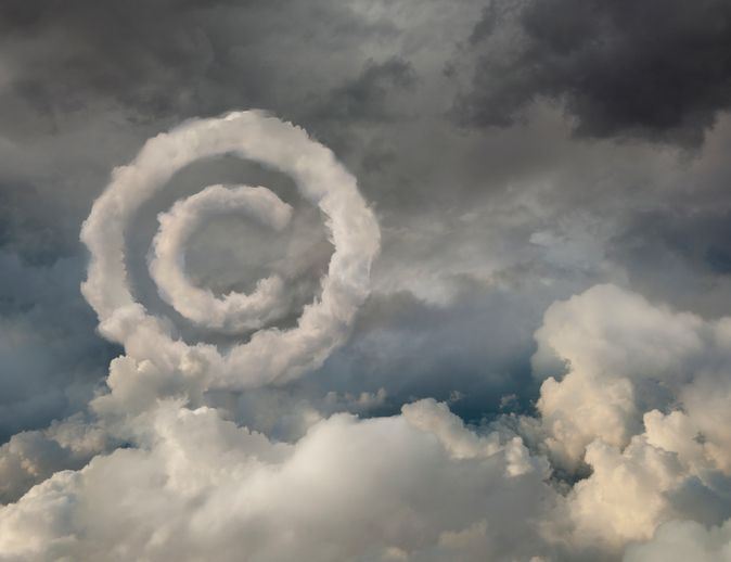 copyright symbol in clouds