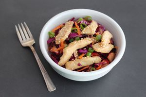 Low-FODMAP Asian Sesame Coleslaw With Teriyaki Chicken Recipe