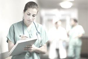 Female doctor in hospital hallway