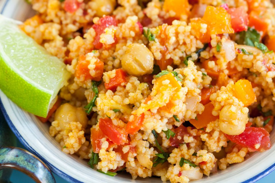 Vegetarian couscous salad with tomatoes and beans