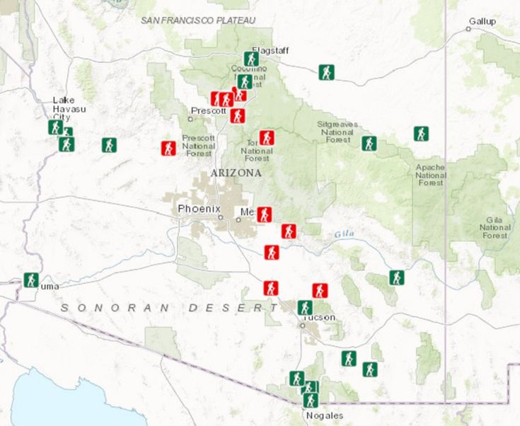 Map Of Arizona State Parks Including Parks Pass Info - State of arizona map