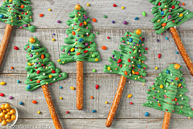 Festive Christmas Tree Pretzel Rods