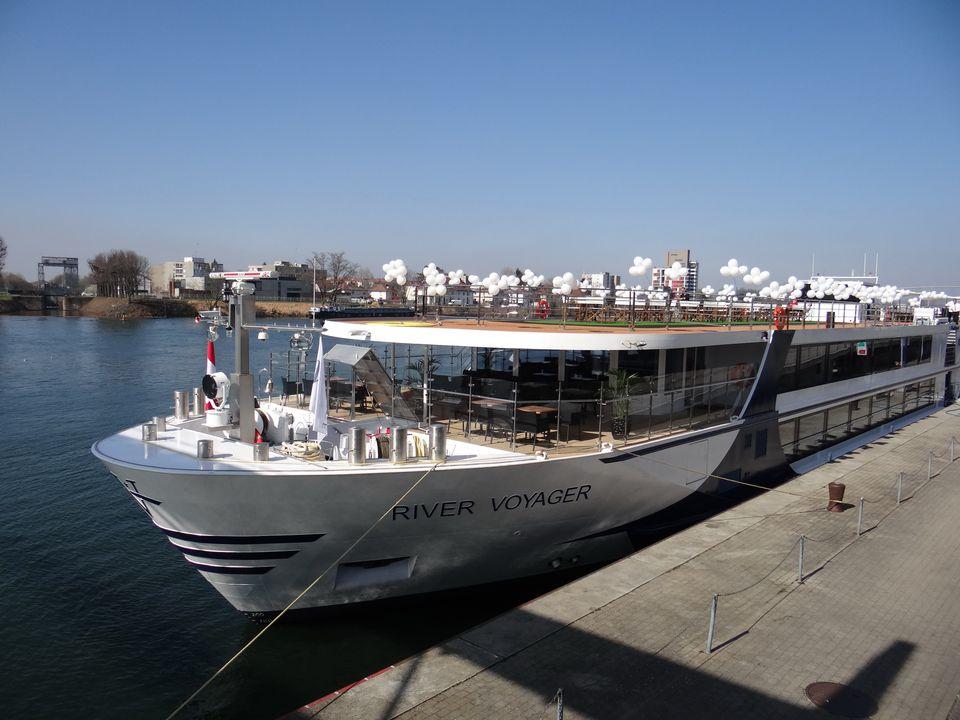 Vantage River Voyager at the dock in Basel, Switzerland