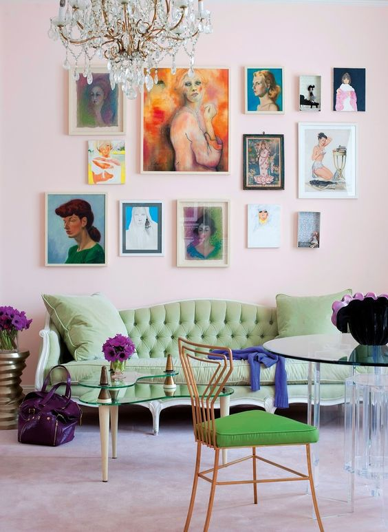 Pink And Green Living Room With Gallery Wall