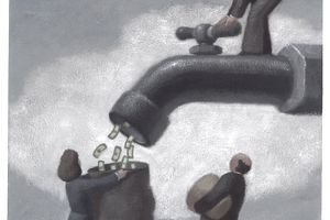 Money faucet illustration