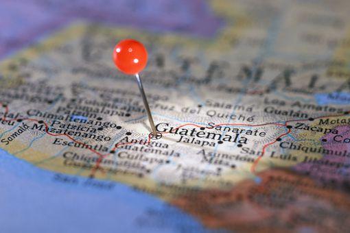 Guatemala City Marked on Map