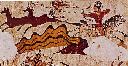 Tomb mural dating from the Koguryeo Era, 37 BCE to 668 CE. Near Pyongyang, North Korea.