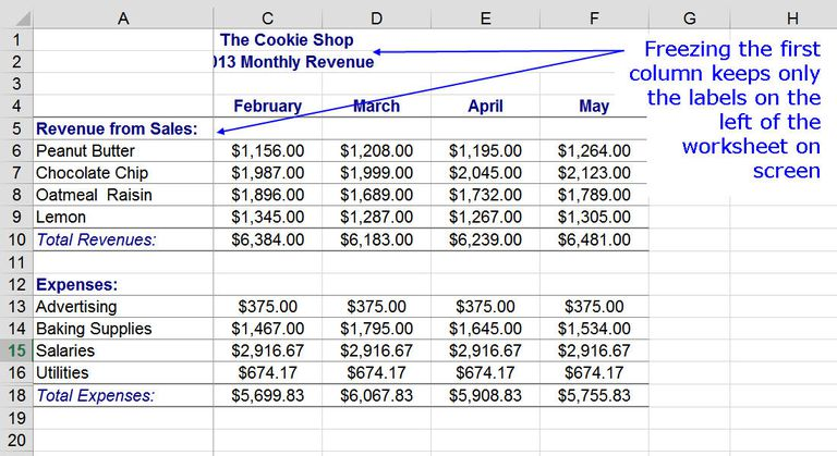Freeze column and row headings in excel with freeze panes freezing the first column of a worksheet with freeze panes ccuart Choice Image