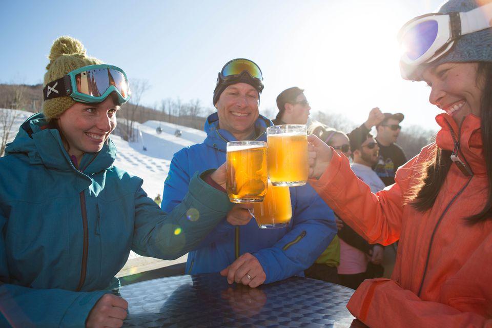 Beers on Paul Bunyan Room Deck, Loon Mountain, New Hampshire
