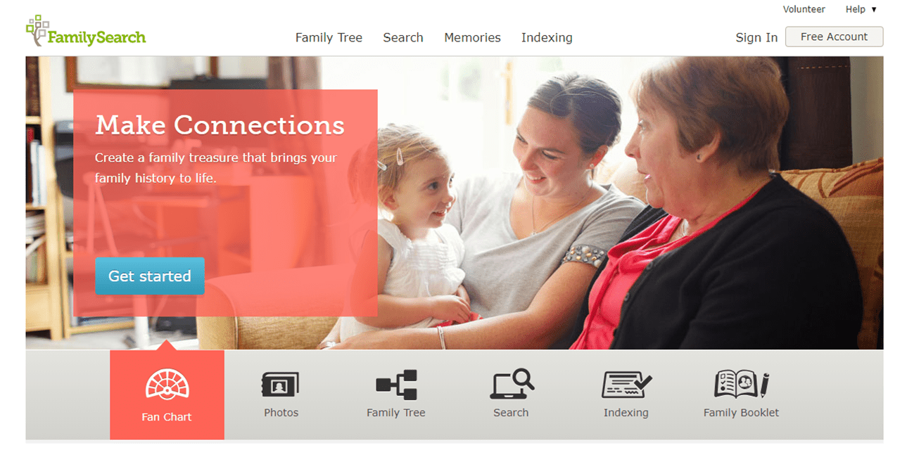Screenshot of the FamilySearch website.