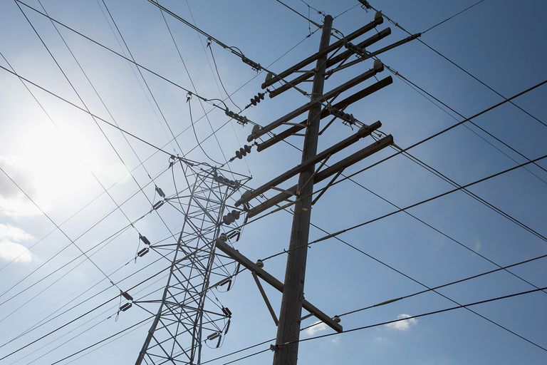 Transmission lines in the electrical grid.