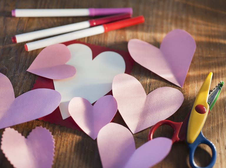 Paper cutouts made by heart templates