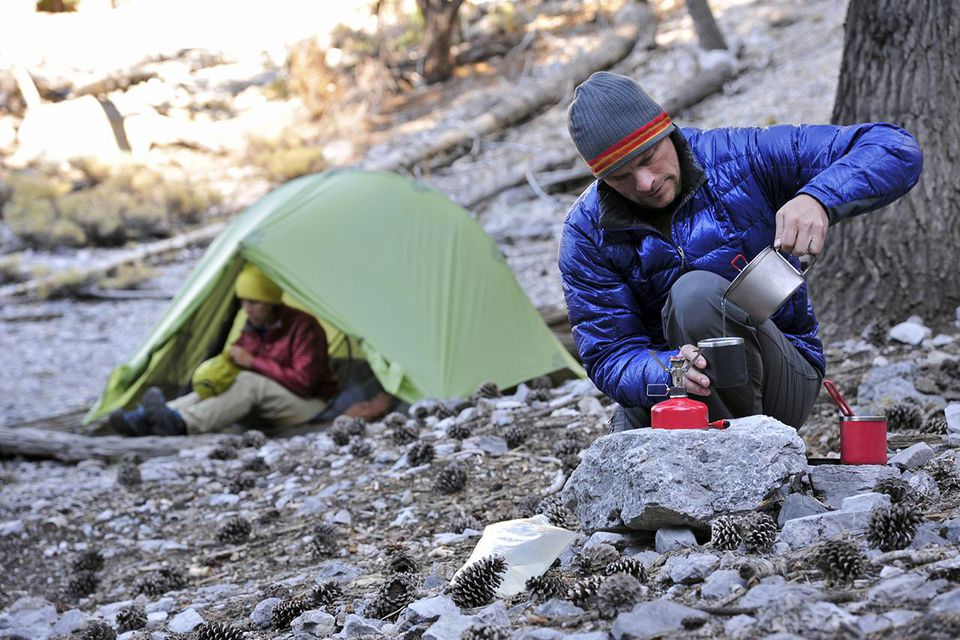 Backpacker couple camping, Mount Charleston, Nevada, USA