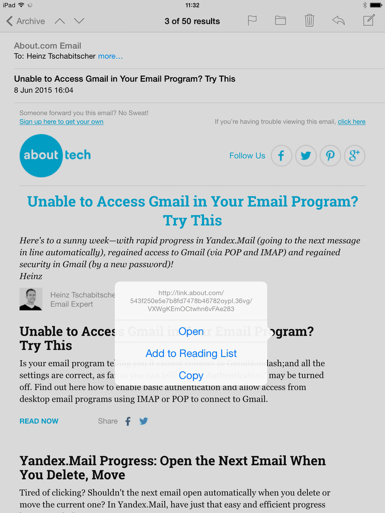 how to send a link in an email on ipad