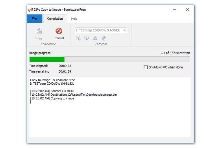 Screenshot of BurnAware Free creating an ISO image