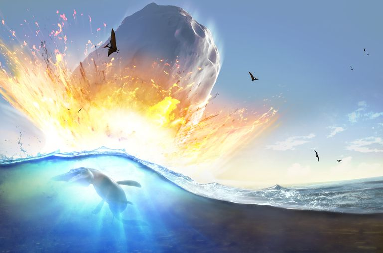 65 million years ago a meteor struck the Mexican Yucatan peninsula, throwing tons of dust in the air and contributing to mass extinctions.