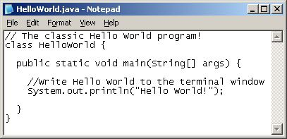 Program Code in Notepad