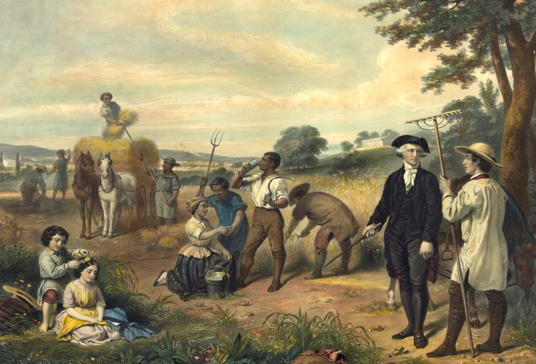Painting of George Washington with slaves at Mount Vernon