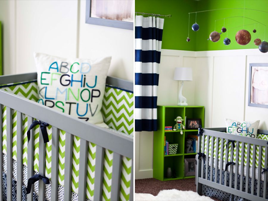Navy and lime green boy nursery