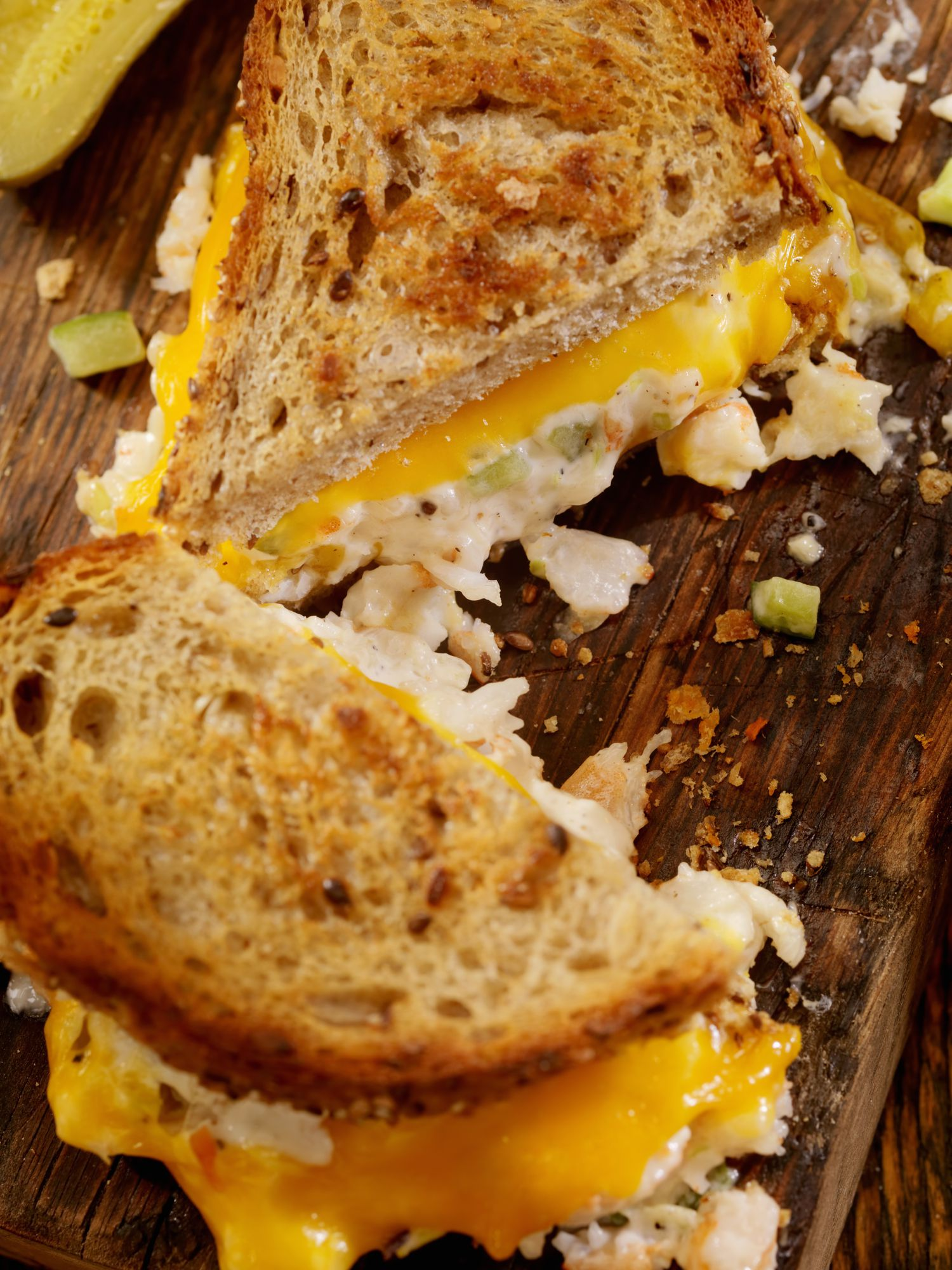 Crab And Shrimp Salad Cheddar Melt Sandwich Recipe