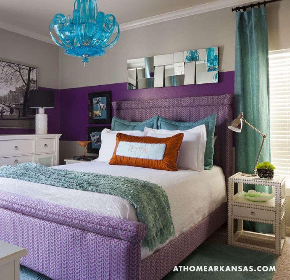 Decorating the bedroom with green blue and purple for 15 year old bedroom