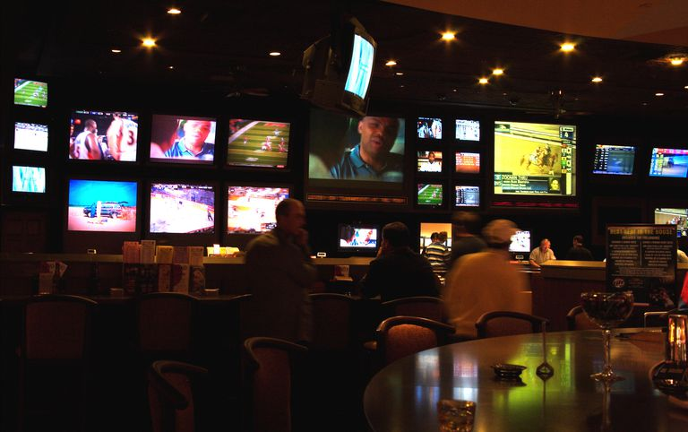 TV screens inside the Sports Bar, Caesars Palace Casino.