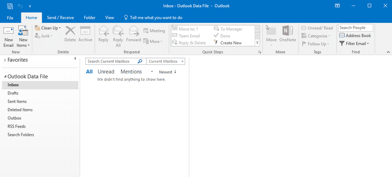 Screenshot of the Outlook 2016 Ribbon