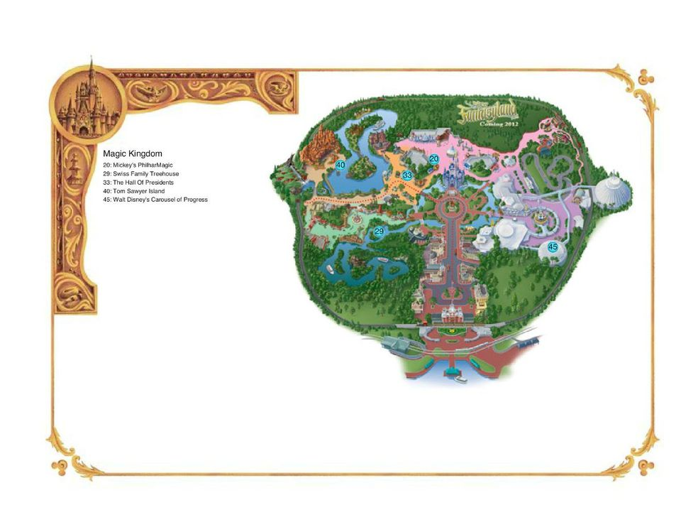 Map of Disney World's Magic Kingdom, identifying the top educational attractions. Download a PDF version of the map.