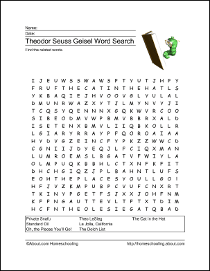Theodor Seuss Geisel Worksheet