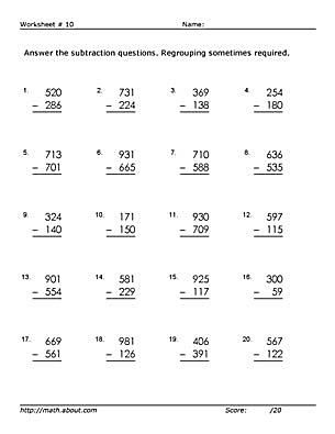 3 digit subtraction worksheets some regrouping. Black Bedroom Furniture Sets. Home Design Ideas