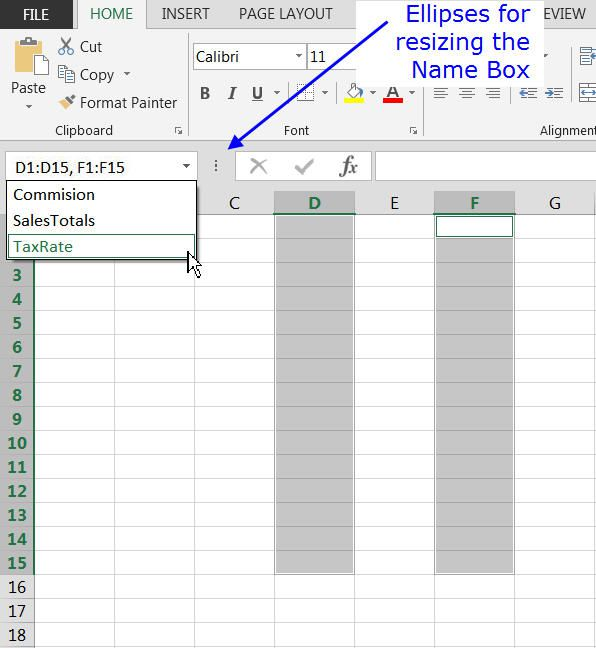 Selecting Cells and Naming Ranges with Excel's Name Box