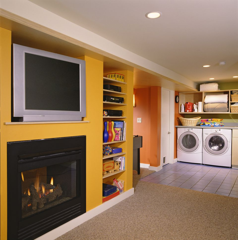 Laundry and Entertainment in Finished Basement