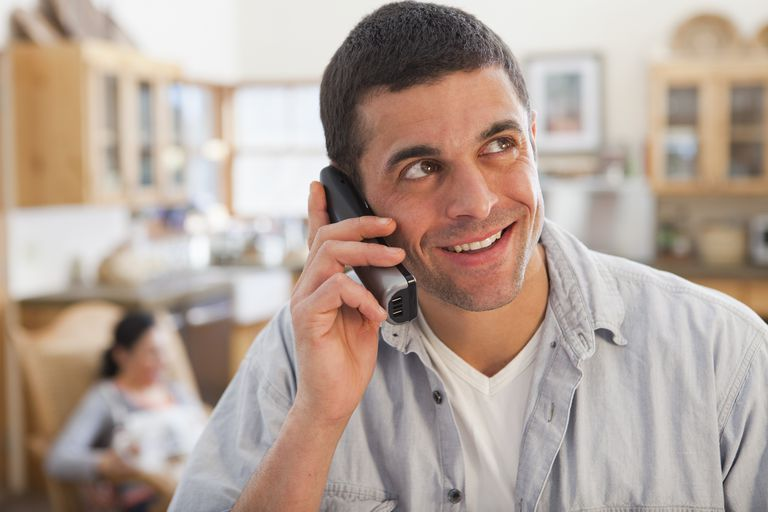 Man talking on telephone