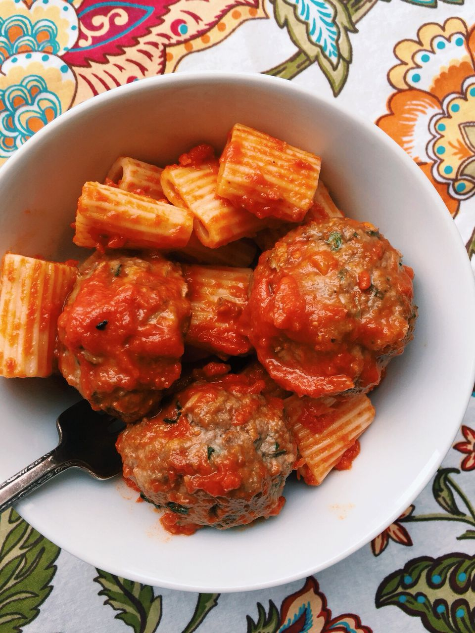 Pasta with Garlicky Meatballs and Tomato Sauce