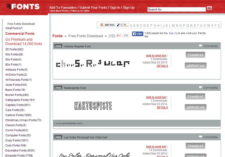 Screenshot of the FFonts website