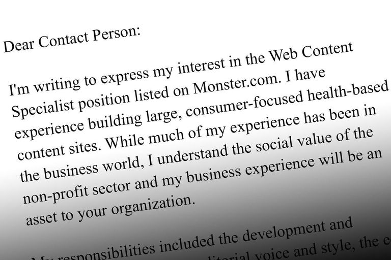 a sample of a cover letter