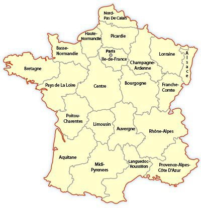 france regions map, map of france