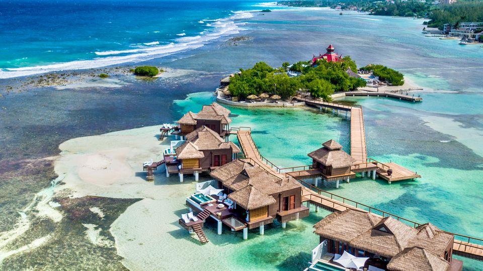 Aerial view of Sandals Overwater Villas