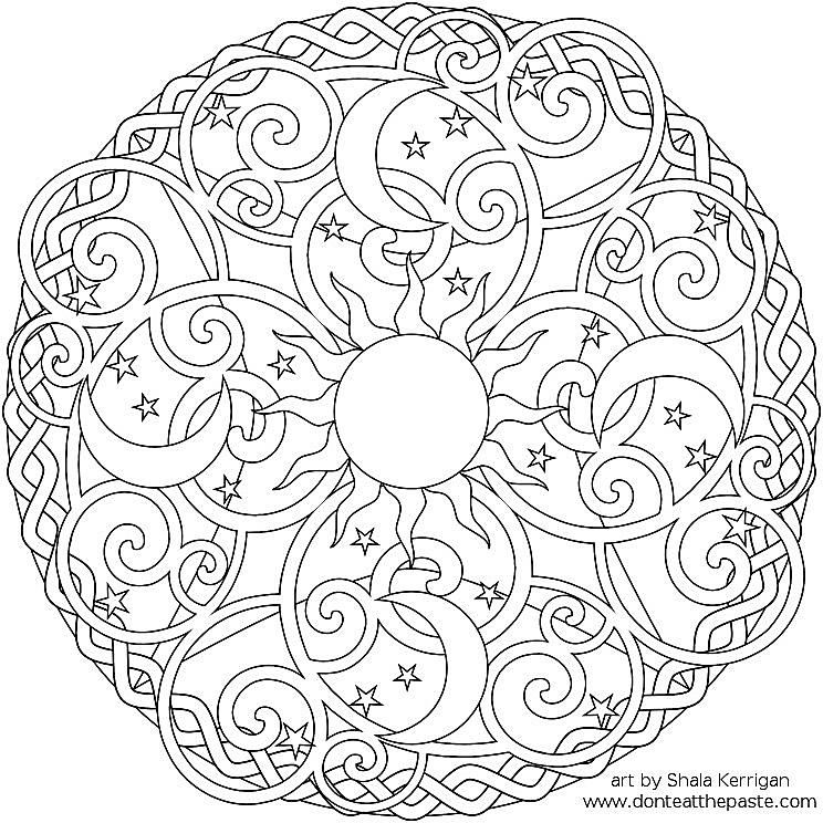 a sun moon and stars mandala coloring sheet - Pattern Coloring Books