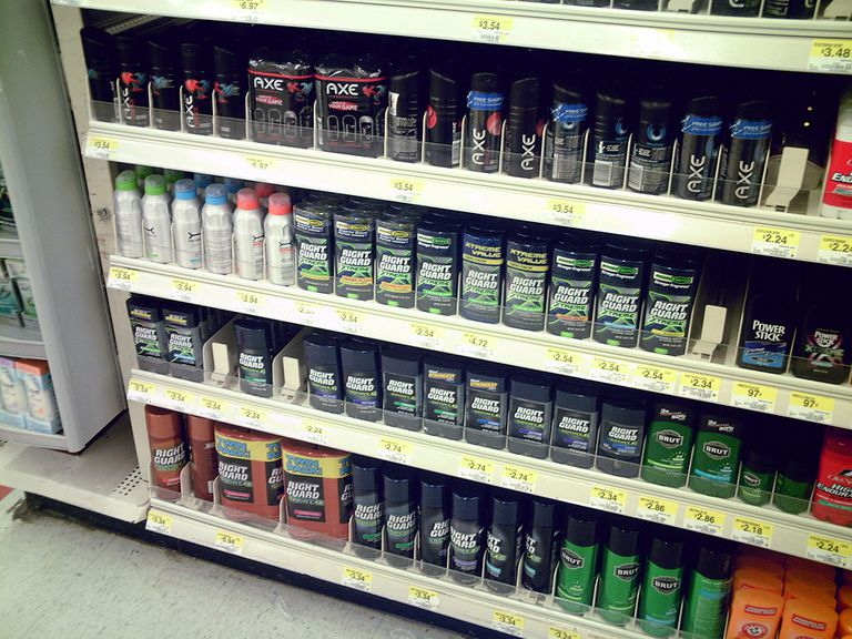 Deodorants on the shelf at Walmart