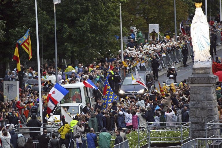 The Pope Arrives In Lourdes