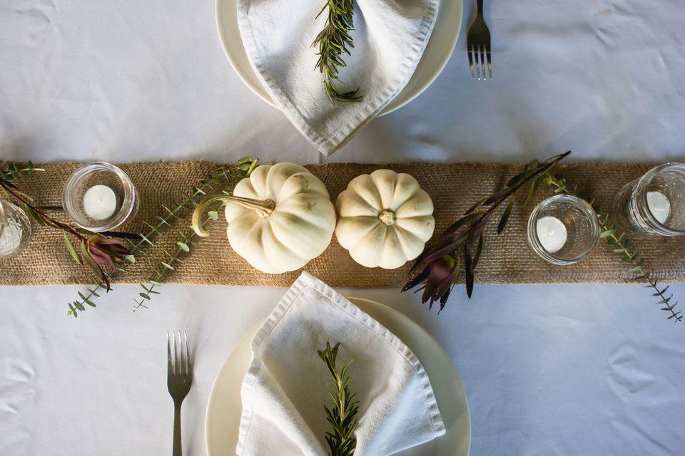 monochromatic thanksgiving place setting