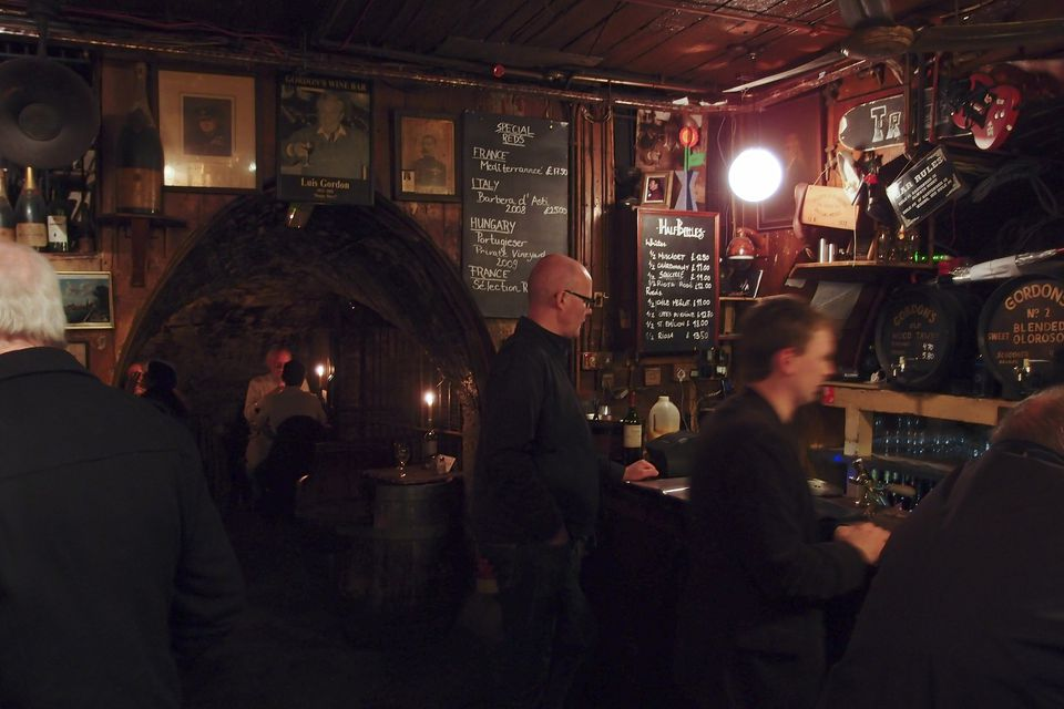 The interior of Gordon's Wine Bar, London