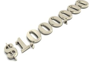 Image of numbers showing million dollars in gold.
