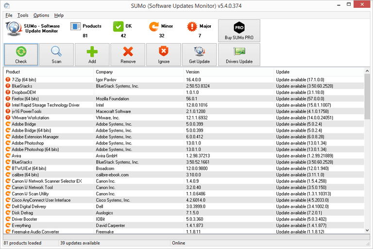 Screenshot of SUMo v5.4.0.374 in Windows 8
