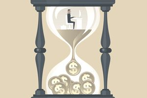 Hour glass with man accumulating tax deferred savings.