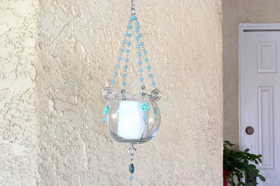 Bead and Wire Candle Holder